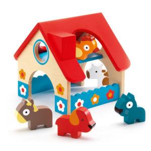 Minifarm con 5 animali in legno