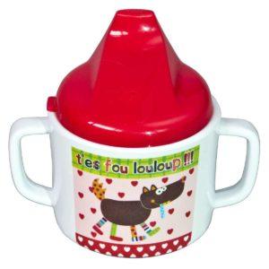 Bicchiere con due manici e beccuccio Cappuccetto rosso – Linea Louloup Ebulobo