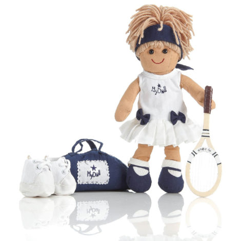 Kit borsa, racchetta e scarpe da tennis per bambola