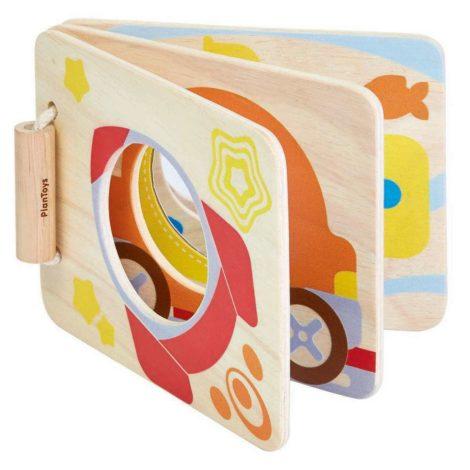 libro con specchio in legno -Mirror Baby Book PlanToys
