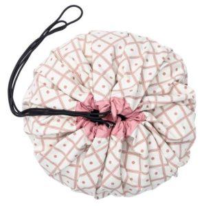 Sacco Portagiochi e Tappeto Geo Coral – Quadrati rosa Play&Go