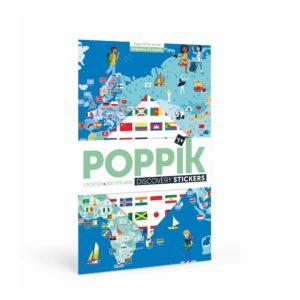 – Bandiere del mondo – Poster gigante con 200 adesivi riposizionabili  – Bandiere del mondo – Poster gigante con 200 adesivi riposizionabili
